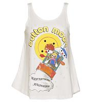 Ladies White We're Off To Button Moon Swing Vest