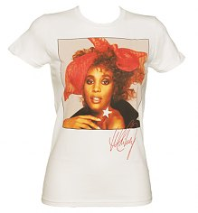 Ladies Whitney Houston Red Scarf T-Shirt [View details]