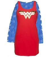 Ladies Wonder Woman Sleeveless Night Dress With Cape And Foil Print