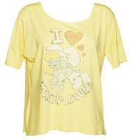 Ladies Yellow I Love Smurfin Around Slouch T-Shirt from Junk Food