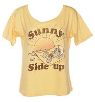 Ladies Yellow Smurfs Sunny Side Up Off The Shoulder Slouch T-Shirt from Junk Food