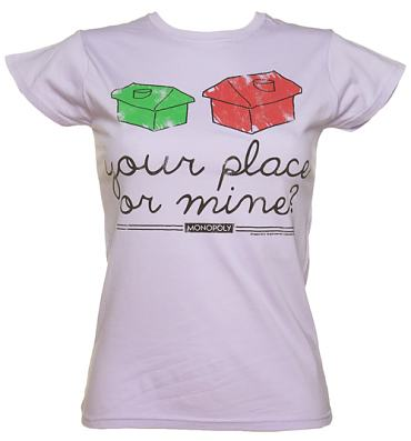 Ladies Your Place Or Mine Monopoly T-Shirt