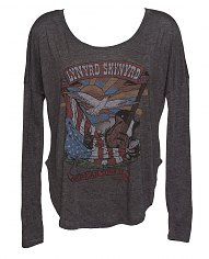Ladies Charcoal Marl Lynyrd Skynyrd Long Sleeve Dipped Hem T-Shirt from Junk Food [View details]