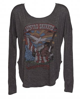 Ladies Charcoal Marl Lynyrd Skynyrd Long Sleeve Dipped Hem T-Shirt from Junk Food