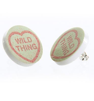 Love Hearts Wild Thing Stud Earrings from Punky Pins