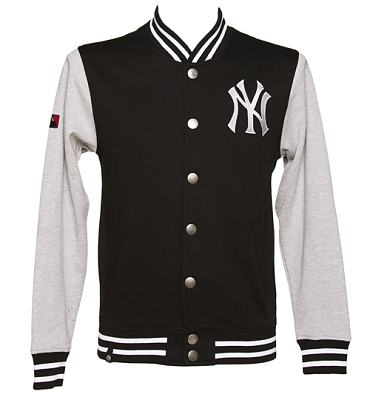 Men's Black And Grey New York Yankees Fleece Letterman Jacket from Majestic Athletic