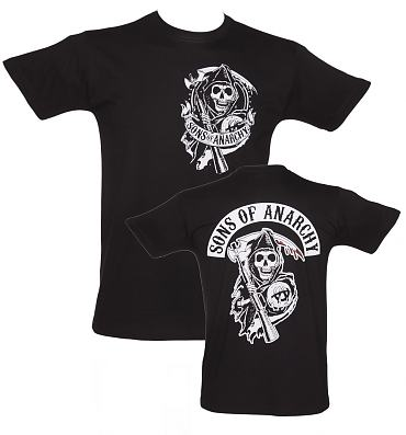 Men's Black Back Patch Sons Of Anarchy T-Shirt