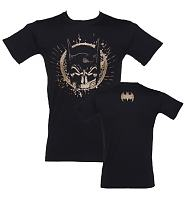 Men's Black Batman Gold Skull Mask T-Shirt With Back Print