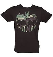 Men's Black Camouflage Batman T-Shirt from Junk Food