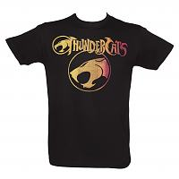 Men's Black Distressed Colour Print Logo Thundercats T-Shirt