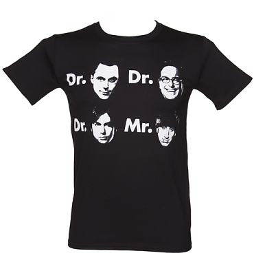 Men's Black Dr And Mr Big Bang Theory T-Shirt