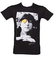 Men's Black Flower Power Photographic John Lennon T-Shirt