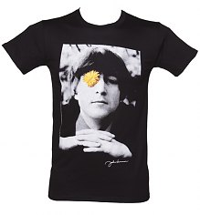 Men's Black Flower Power Photographic John Lennon T-Shirt [View details]