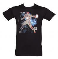 Men's Black Iron Man Attack T-Shirt