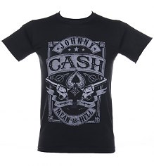 Men's Black Johnny Cash Vintage Mean As Hell Pistols T-Shirt [View details]