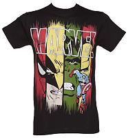 Men's Black Marvel Faces T-Shirt
