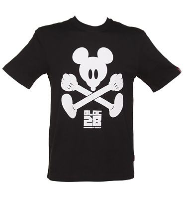 Men's Black Mickey Mouse Crossbones T-Shirt from Bloc28 By Disney