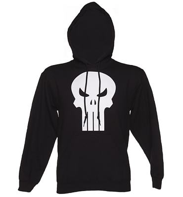 Men's Black Punisher Logo Marvel Hoodie