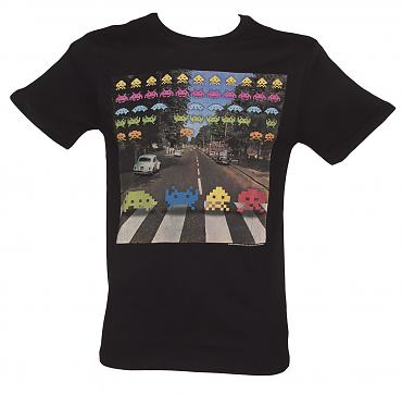 Men's Black Retro Space Invaders Abbey Road T-Shirt