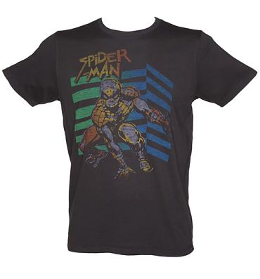 Men's Black Retro Spiderman T-Shirt from Junk Food