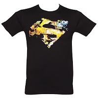 Men's Black Saturated Superman Logo T-Shirt from Urban Species