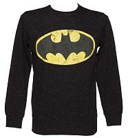 Men's Black Speckled Classic Logo Batman Sweater from Fabric Flavours