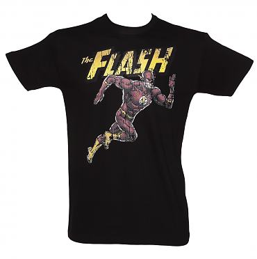 Men's Black The Flash Running DC Comics T-Shirt