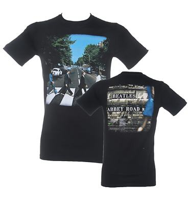 Men's Black Vintage Front And Back Print Abbey Road Beatles T-Shirt