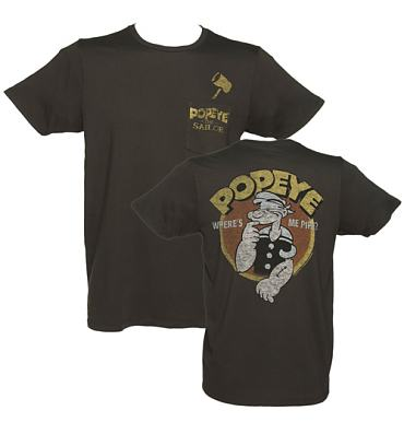 Men's Black Vintage Popeye Print T-Shirt from Junk Food