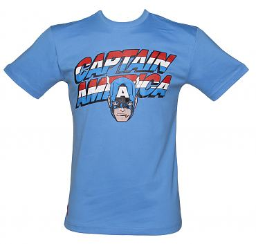 Men's Blue Captain America Retro Logo T-Shirt from Addict