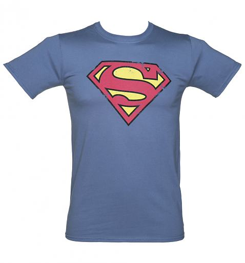 Men's Vintage Blue Distressed Superman Logo DC Comics T-Shirt
