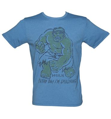 Men's Blue Every Day I'm Smashing Hulk T-Shirt from Junk Food
