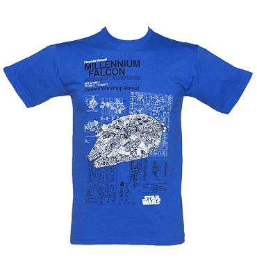 Men's Blue Haynes Manual Millennium Falcon Star Wars T-Shirt