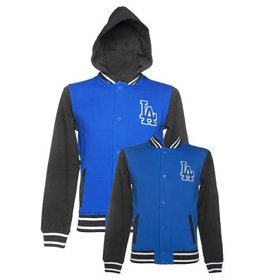 Men's Blue MLB Varsity LA Dodgers Hooded Fleece Letterman Jacket from Majestic Clothing