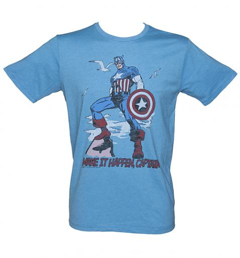 Mens Blue Make It Happen Captain America TShirt from Junk Food