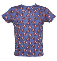Men's Blue Marl All Over Print DC Comics Superman Logo T-Shirt from Fabric Flavours