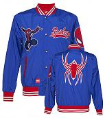 Men's Blue Marvel Spiderman League Satin Varsity Jacket from Addict