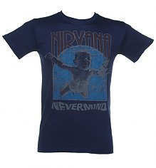 Men's Blue Nirvana Nevermind Album Cover T-Shirt [View details]