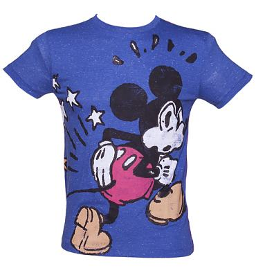 Men's Blue Spank Mickey Mouse T-Shirt from Fabric Flavours