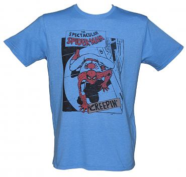 Men's Blue Spectacular Spiderman Creepin T-Shirt from Junk Food