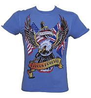 Men's Blue Stud Detail Retro Eagle T-Shirt from Famous Forever