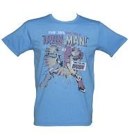 Men's Blue Time For An Upgrade Iron Man T-Shirt from Junk Food