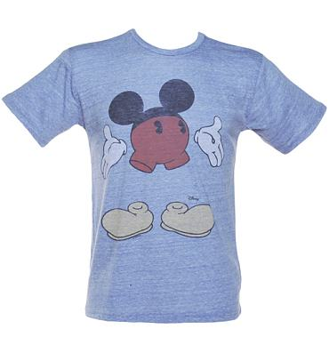 Men's Blue Triblend Disjointed Mickey Mouse T-Shirt from Junk Food
