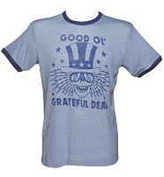 Men's Blue Triblend Good Ol Grateful Dead Ringer T-Shirt from Junk Food