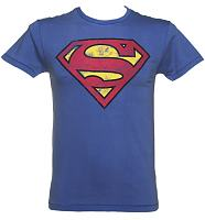 Men's Blue Washed Superman Logo T-Shirt from Fabric Flavours