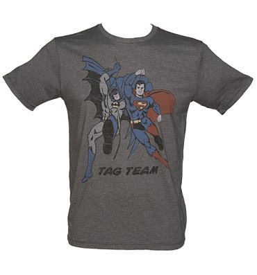 Men's Charcoal Batman And Superman Tag Team T-Shirt from Junk Food