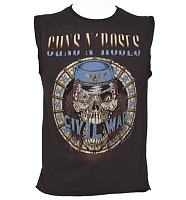 Men's Charcoal Civil War Guns N Roses Sleeveless T-Shirt from Amplified Vintage