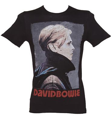 Men's Charcoal David Bowie Fashion T-Shirt from Amplified Vintage