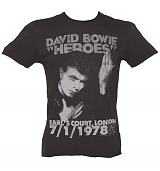 Men's Charcoal David Bowie Heroes London 1978 T-Shirt from Amplified Vintage