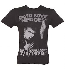 Men's Charcoal David Bowie Heroes London 1978 T-Shirt from Amplified Vintage [View details]